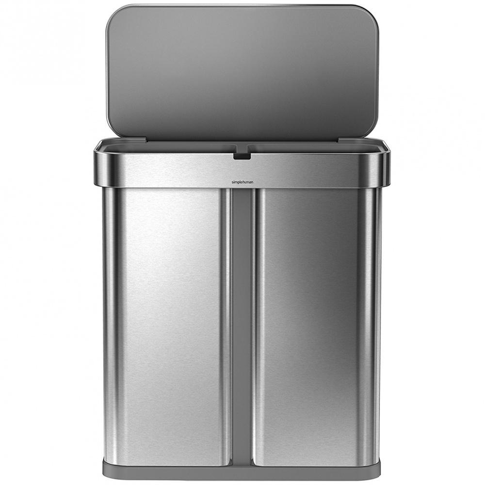 Simplehuman RECTANGULAR 58L sortowany odpad - silver