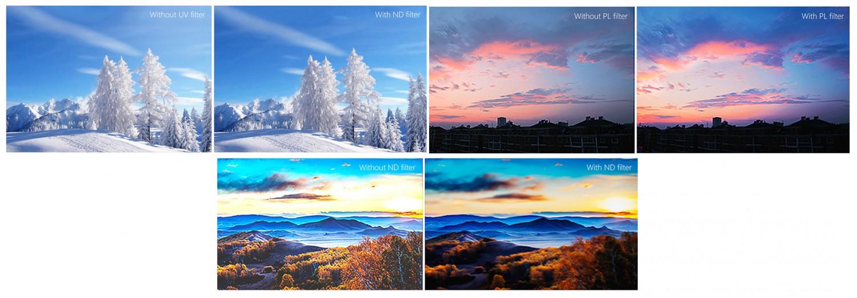 Próbki zdjęć zrobionych przy użyciu filtrów HD ND / UV / PL