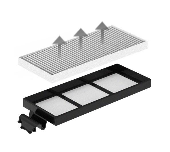 Podwójna filtracja - Filtr projektowy HEPA wychwytuje drobny pył i alergeny